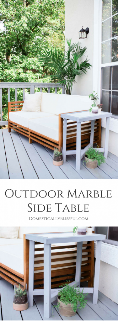 This Outdoor Marble Side Table is made from a leftover piece of kitchen countertop marble & repurposed wood from porch railings.