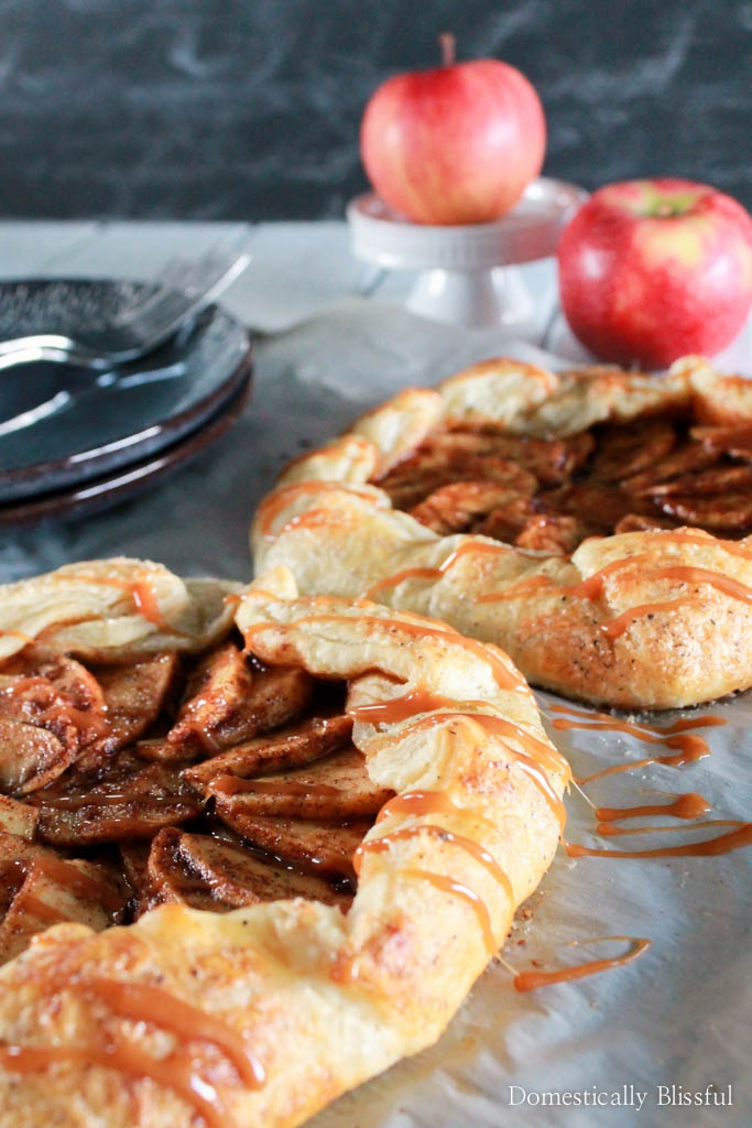 This Easy Salted Caramel Apple Galette has all of the warm & delicious flavors of a classic apple pie but is quicker & easier to create!