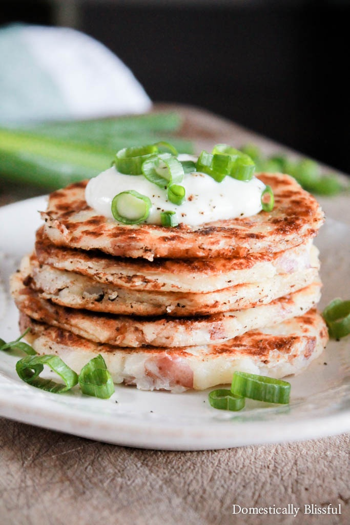 Mashed Potato Pancakes are an easy recipe made from leftover mashed potatoes making it perfect for leftover Thanksgiving food!