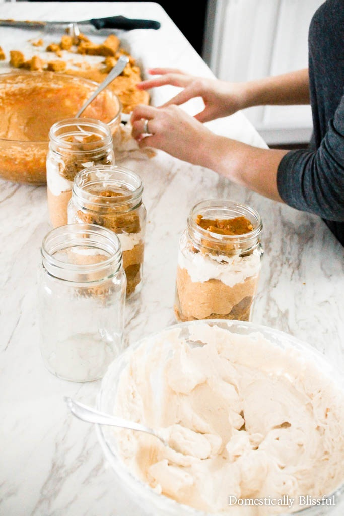 Pumpkin Spice Cheesecake Trifles are the perfect fall party treat served in individually sized glass jars so everyone can have one!