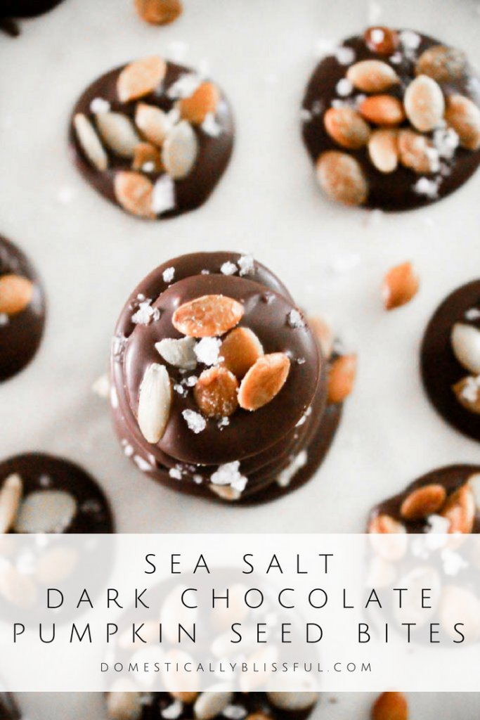 Sea Salt Dark Chocolate Pumpkin Seeds are a fun fall dessert that is quick & easy, smooth & crunchy, with a salty & sweet taste.