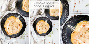 Creamy Baked Acorn Squash is a comforting seasonal dish that will warm & delight your taste buds with the flavors of fall.