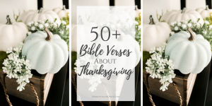 50+ Bible verses about thanksgiving & thankfulness to celebrate the month of November & to give thanks to God for His mercy & blessings.
