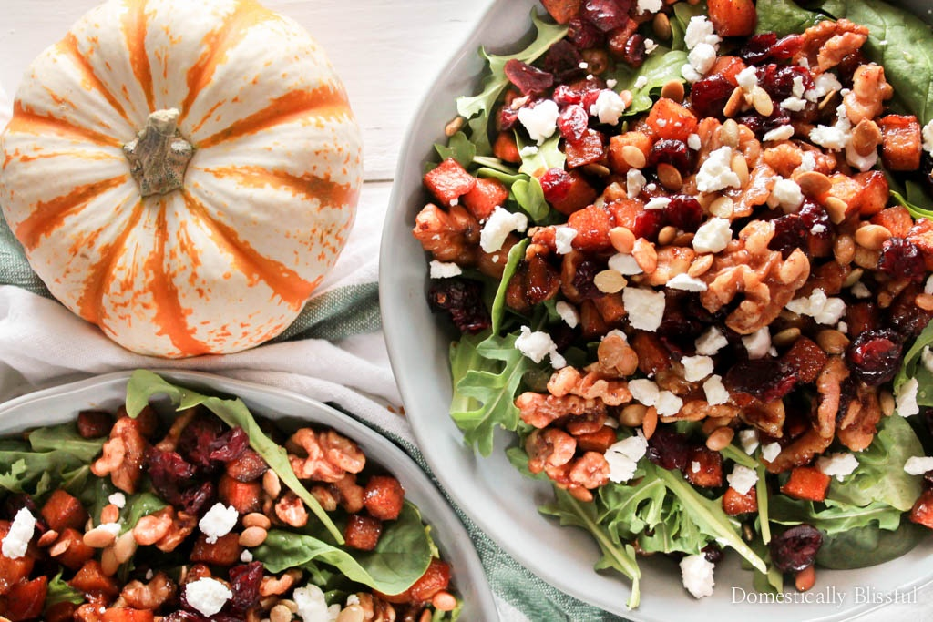 Roasted Butternut Squash Salad with Goat Cheese is a simply delicious fall salad covered in warm flavors and topped with homemade honey apple cider salad dressing.