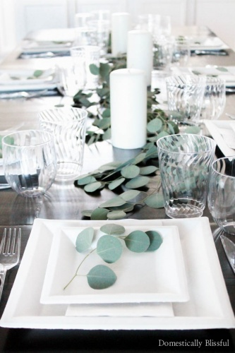 Fresh Eucalyptus Holiday Tablescape