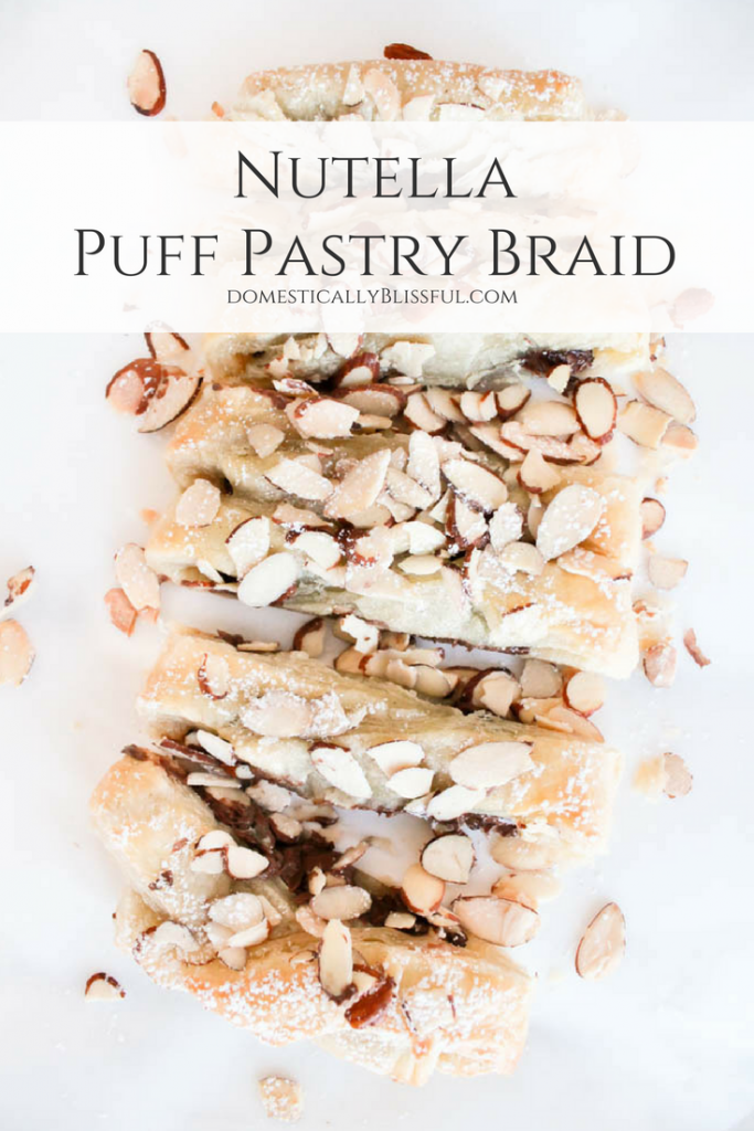 This Nutella Puff Pastry Braid is filled with warm hazelnut flavor & perfect for brunch or dessert for any occasion.