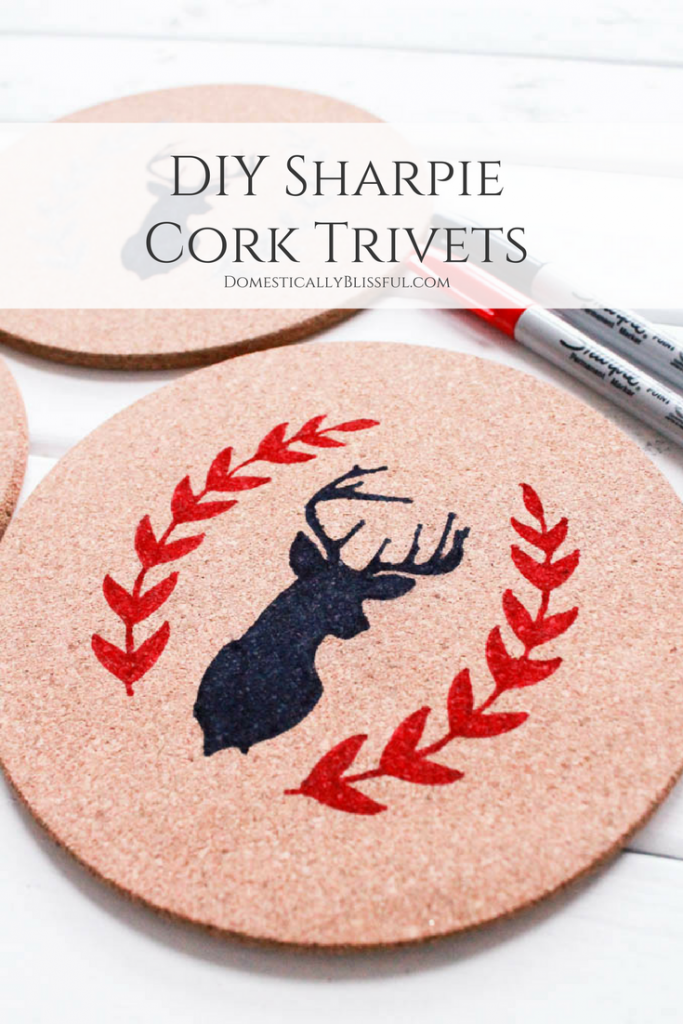 Create a homemade gift that keeps giving with these Sharpie Cork Trivets, plus a tutorial for reindeer wrapping paper!