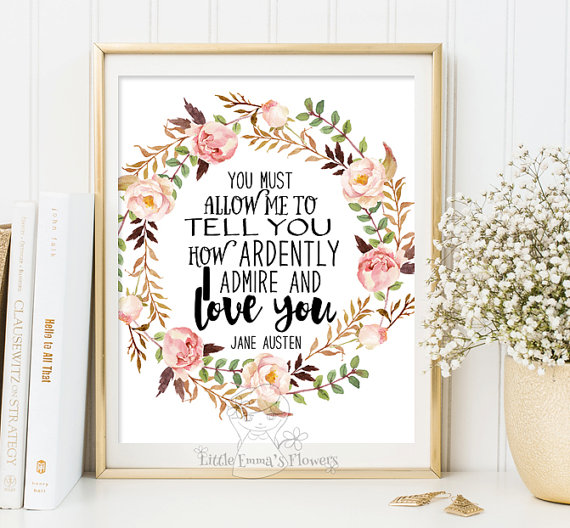 Jane Austen quote print wall art