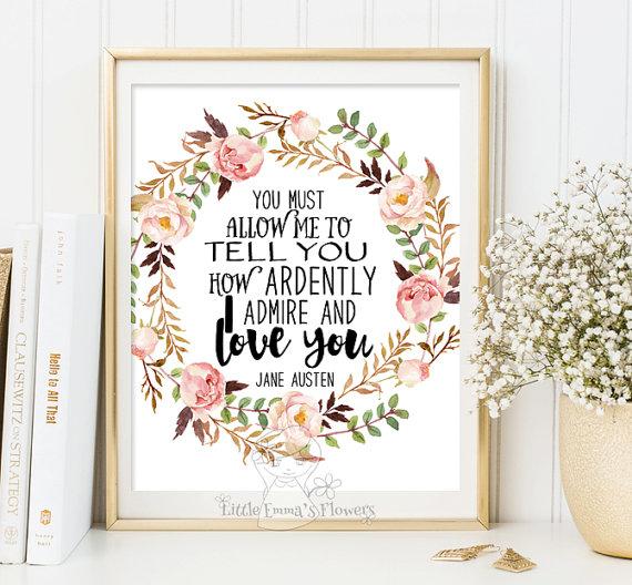 Jane Austen quote print wall art