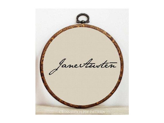 Jane Austen Signature Cross Stitch Pattern