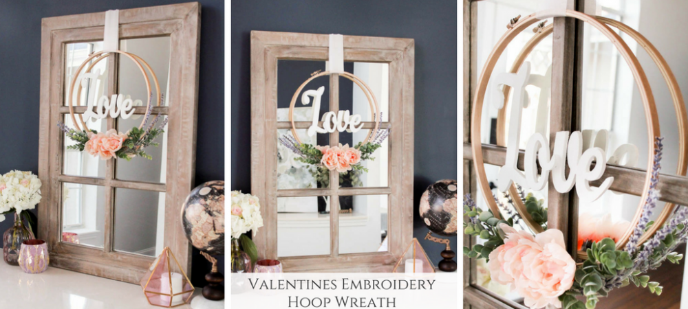 Valentines Embroidery Hoop Wreath