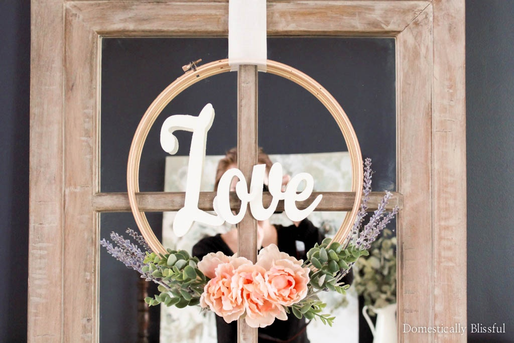 Create a quick & easy Valentines Embroidery Hoop Wreath that can easily great be transitioned into a spring embroidery hoop wreath!