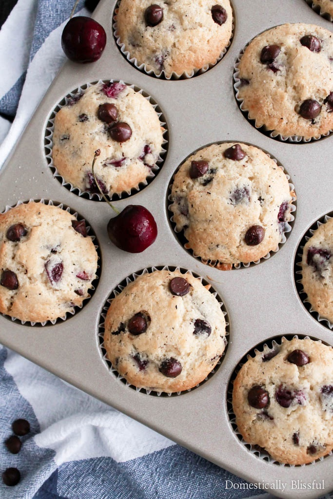 Dark Chocolate Chip Cherry Muffins are a decadent brunch treat that is perfect for breakfast but sweet enough to be dessert!