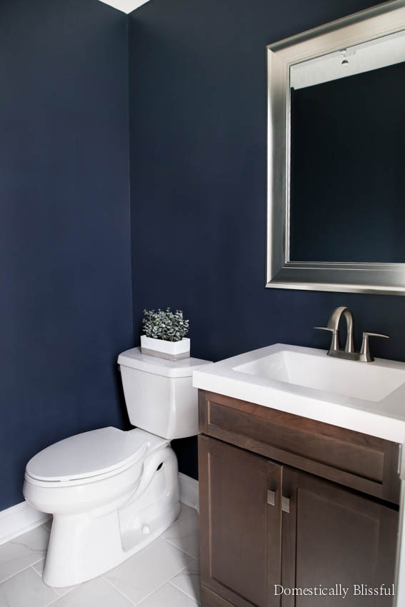 Half bathroom remodel on a budget domestically blissful for Remodel a bathroom on a budget
