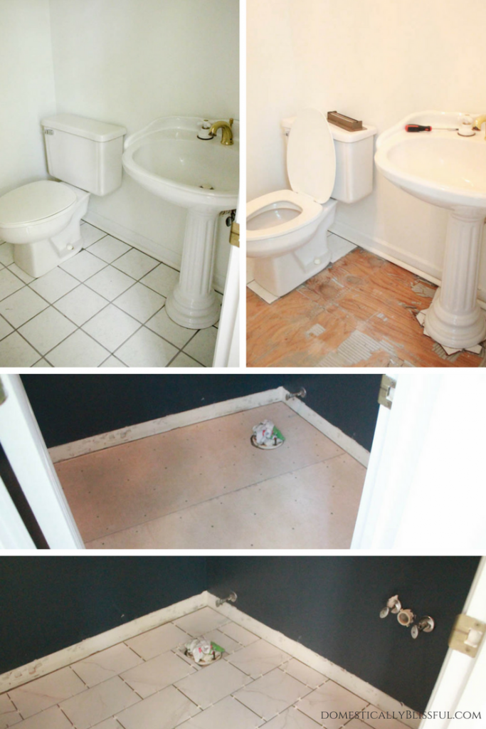 A half bathroom remodel on a budget, with before & after pictures, featuring dark walls & modern features.
