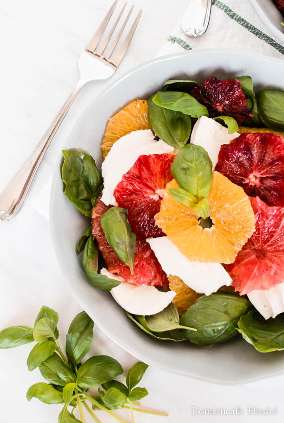 This Citrus Caprese Salad is a delicious fruit twist on the classic Caprese salad recipe.