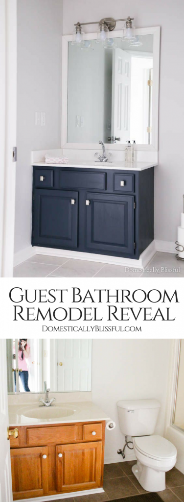 A guest bathroom remodel on a budget with new tile, fresh paint, an updated vanity, & framed mirror.