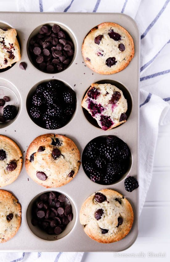 These Dark Chocolate Blackberry Muffins are the perfect treat for breakfast or brunch & they are even sweet enough for dessert!