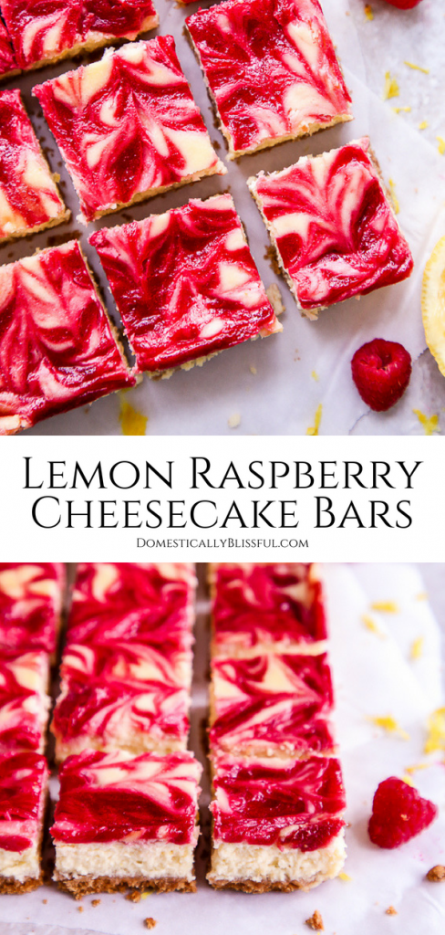 These refreshing Lemon Raspberry Cheesecake Bars are filled with vibrant flavors making it the perfect dessert for a summer party or family gathering.