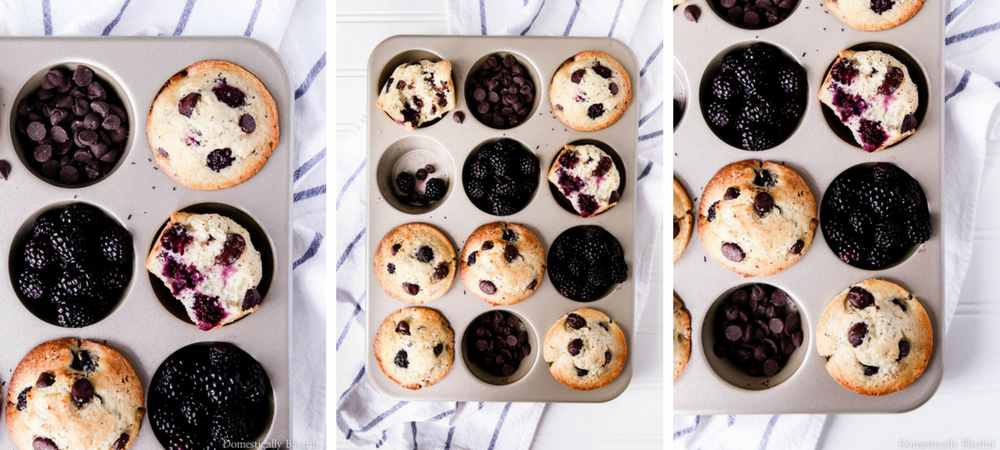 Dark Chocolate Blackberry Muffins