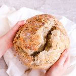 This Sea Salt Rosemary No-Knead Bread is crusty on the outside, soft on the inside, & fills your home with a mouthwatering fragrance.