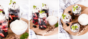 This mint berry fruit salad is a fresh summer berry salad topped with homemade whipped cream making it perfect for brunch or special occasions.