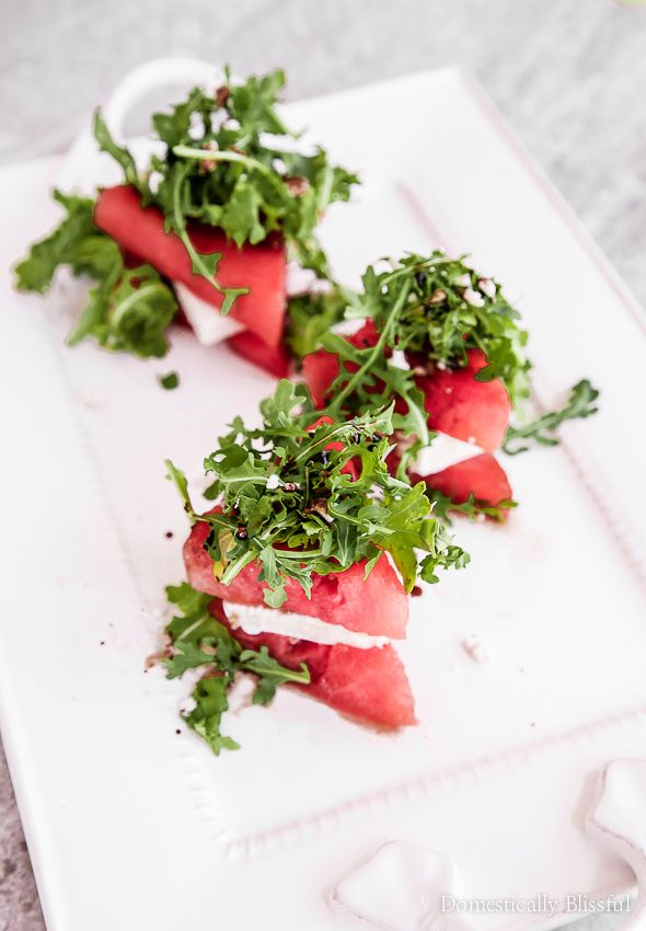 This Grilled Watermelon Salad is the perfect appetizer or side dish for a BBQ picnic this summer with all of your friends and family.