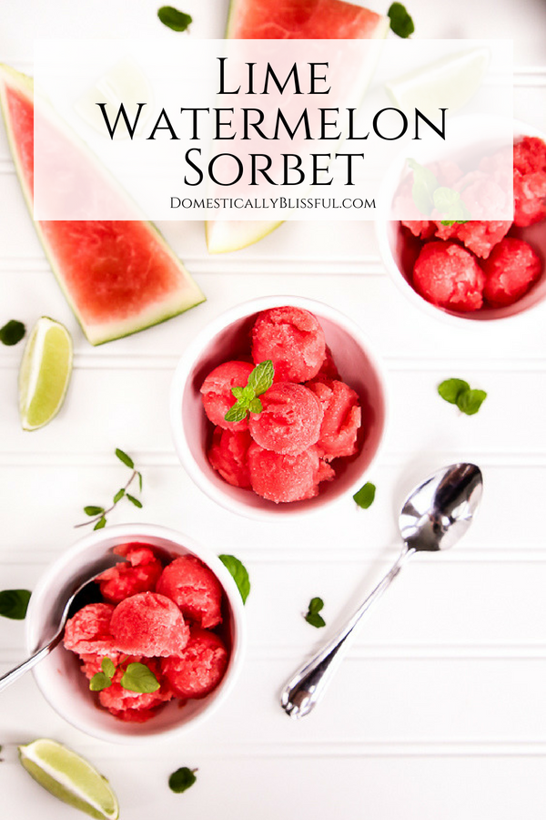 This Lime Watermelon Sorbet is super easy to make & you only need 2 ingredients for this sweet summer dessert!