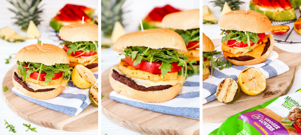 Grilled Pineapple Veggie Burgers