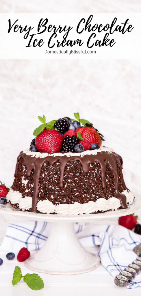Personalize your very own Very Berry Chocolate Ice Cream Cake with dark chocolate, fresh berries, & sprigs of fresh mint for any occasion!