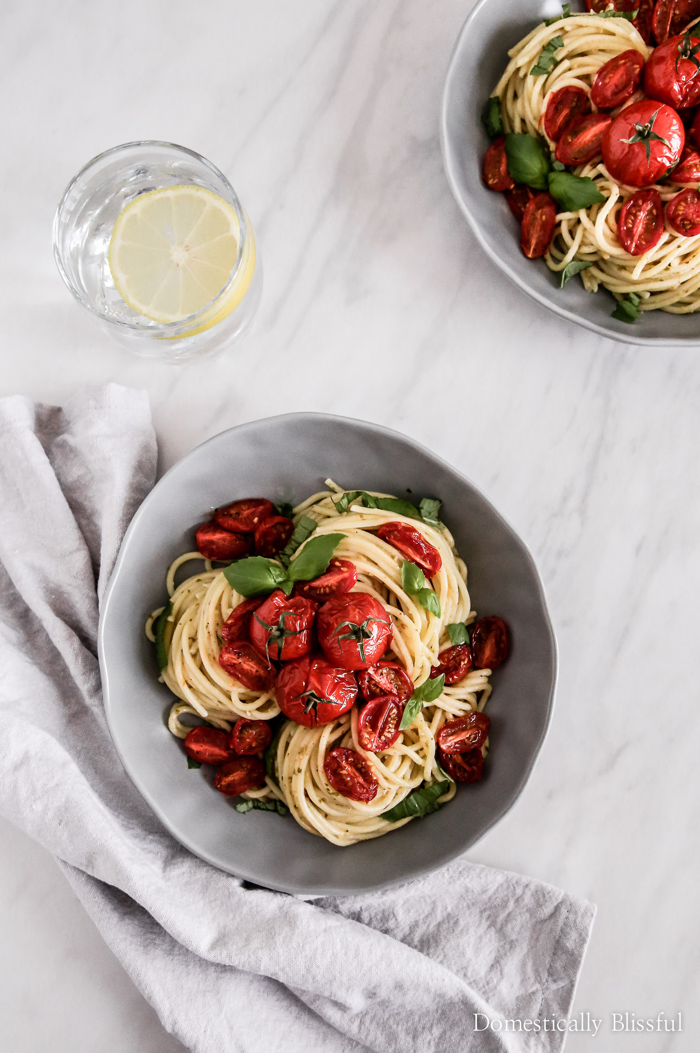 Roasted Tomato Lemon Pesto Pasta