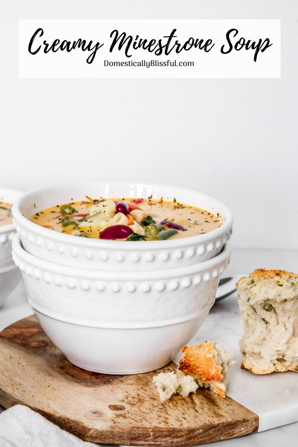 This Creamy Minestrone Soup is a delicious creamy twist on the classic soup recipe that is full of fresh vegetables.