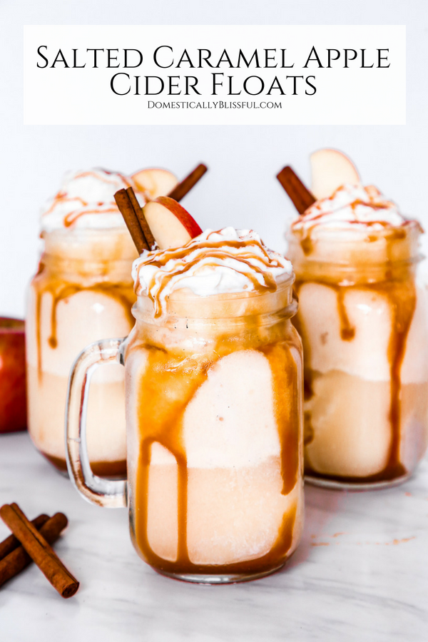 These Salted Caramel Apple Cider Floats are sure to be your new favorite fall drink & fall dessert rolled into one deliciously cold drink recipe!