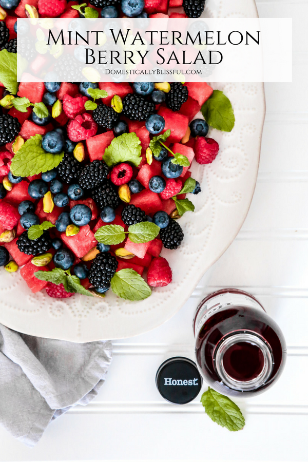 This Mint Watermelon Berry Salad is full of fresh ingredients & is quick & simple to make this summer for any occasion!
