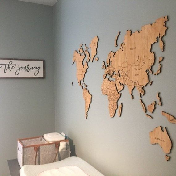 25 travel map decor inspiration for your home to help you remember your travel adventures & favorite vacation memories.