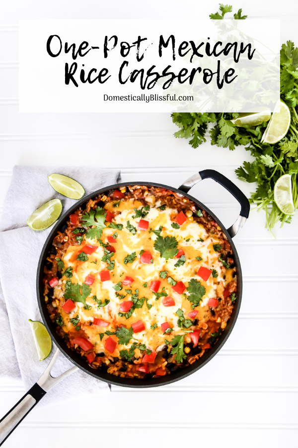This One-Pot Mexican Rice Casserole is quick & easy to make plus it is full of fresh flavor & bright colors making it a tasty main dish for your Meatless Monday meal.