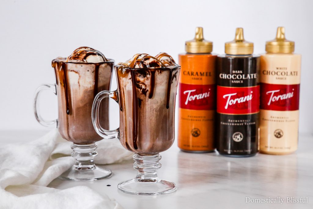 This Dark Hot Chocolate Float is filled with rich dark hot chocolate, a scoop of creamy vanilla ice cream, & topped with Torani Sauces!
