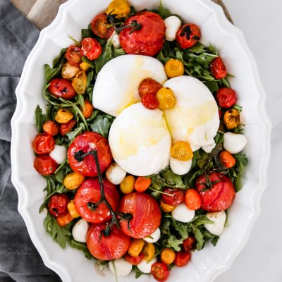 Roasted Tomato Burrata Caprese Salad