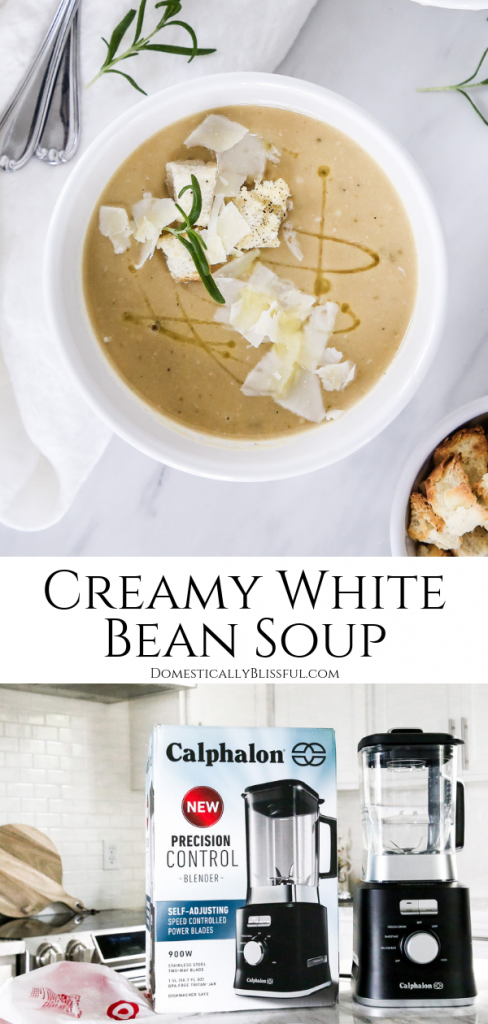 This Creamy White Bean Soup is made with simple ingredients yet is packed full of warm & cozy flavors. This soup is blended together using the Calphalon Precision Control™ Blender from Target for a perfectly creamy texture you will love!