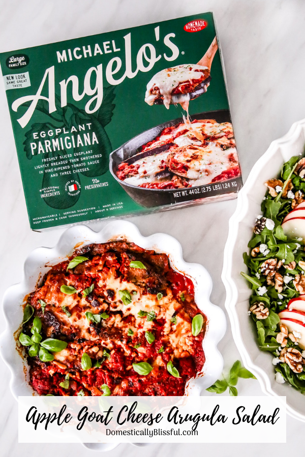 This Apple Goat Cheese Arugula Salad with homemade honey balsamic vinaigrette paired with Michael Angelo's Eggplant Parmigiana helps turn frozen meals into a memorable dinner.