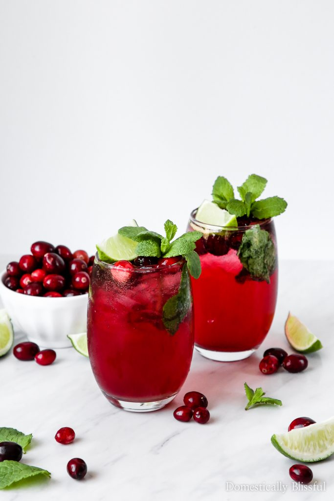 These Virgin Cranberry Mojitos are the perfect festive drink for your next holiday party that everyone can enjoy!