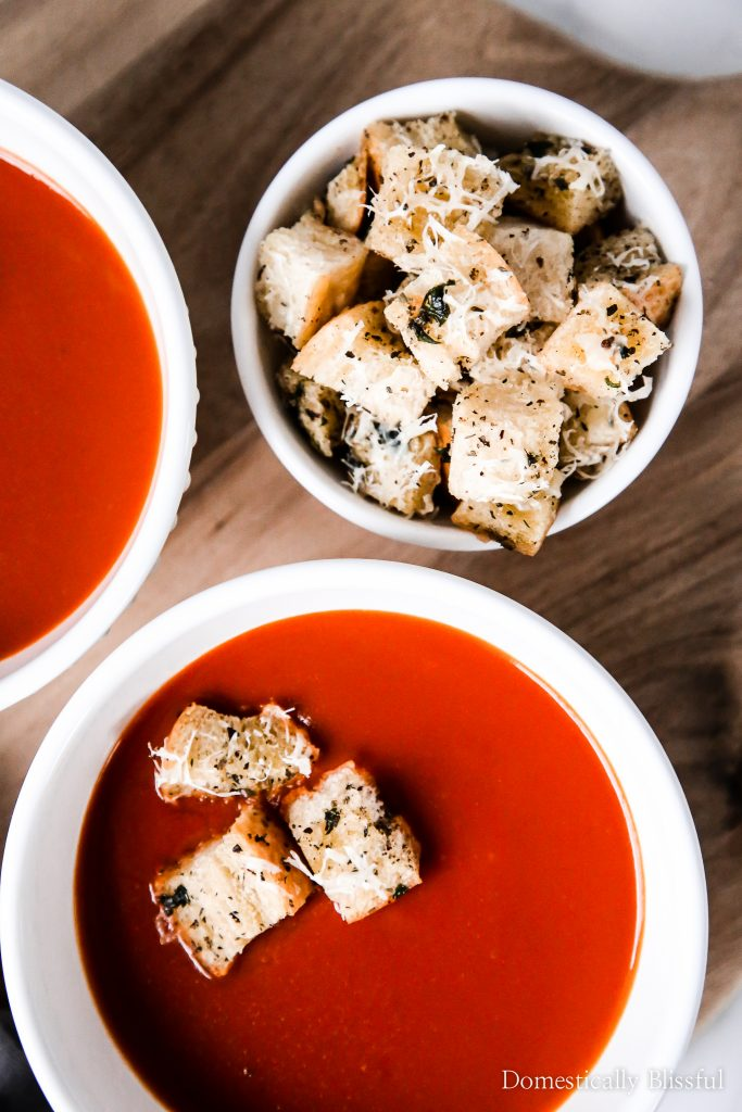 TheseGarlic Herb Parmesan Croutons are the perfect soup topper addition to your family soup night at home!