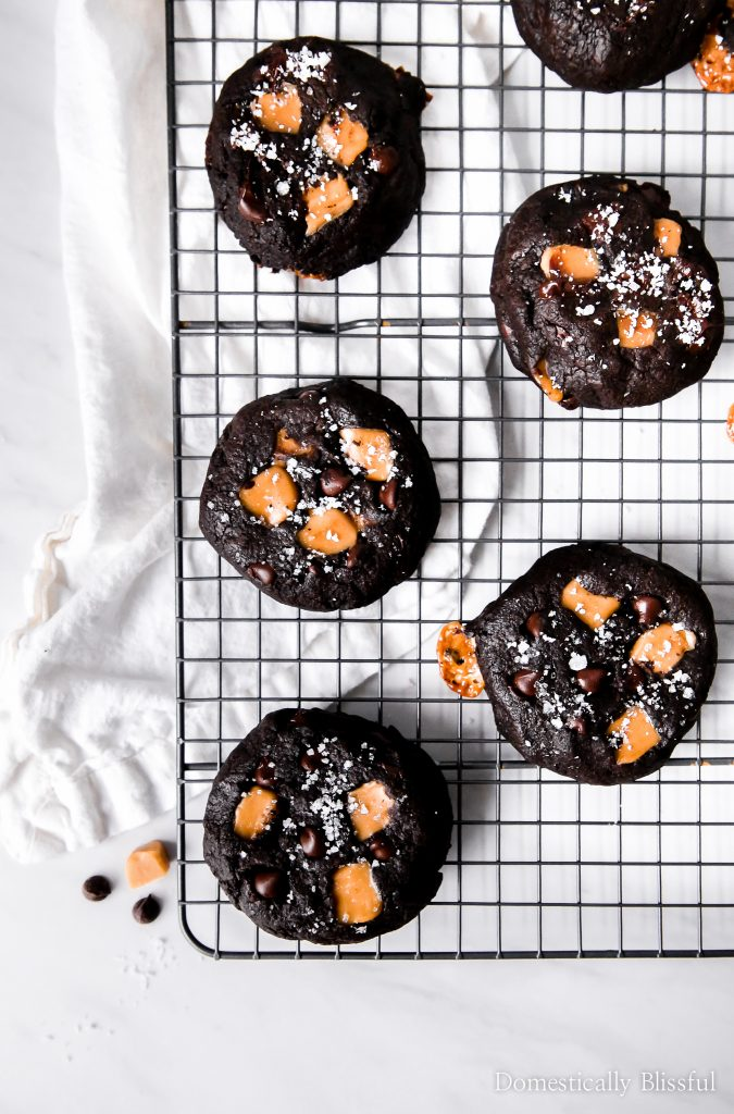 These Sea Salt Caramel Double Dark Chocolate Cookies are extra thick, absolutely divine, & a chocolate lovers dream come true.
