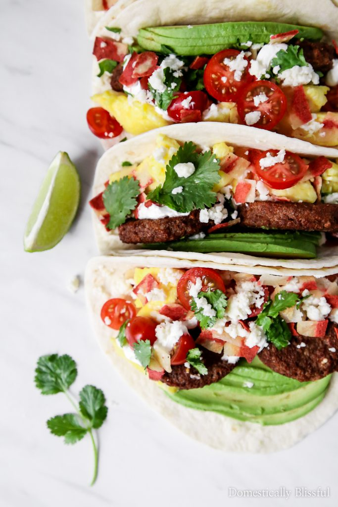 These vegetarian Sausage Breakfast Tacos are full of fresh colorful flavor.