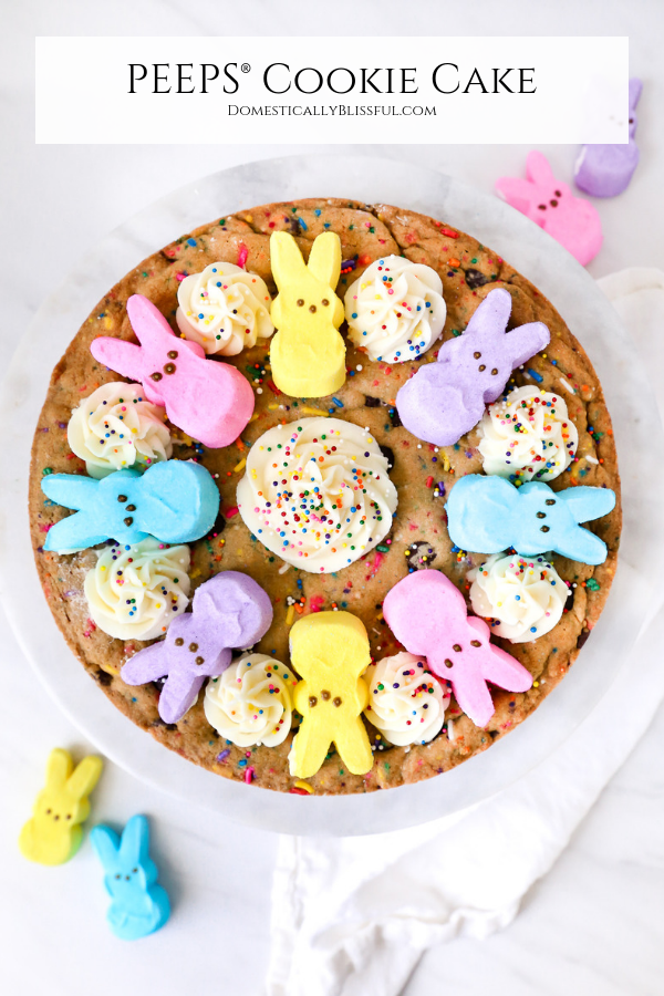 This PEEPS® Cookie Cake is made with a homemade sprinkle chocolate chip cookie & topped with a homemade PEEPS® Sweet Marshmallow Buttercream Frosting & PEEPS® Marshmallows.
