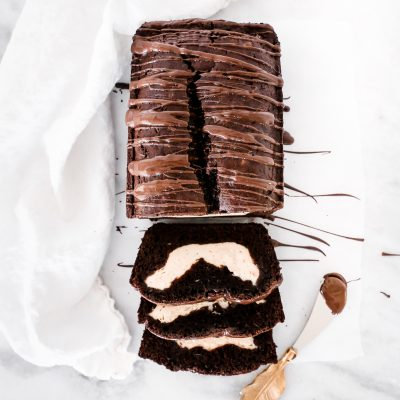 Cream Cheese Swirl Dark Chocolate Zucchini Bread
