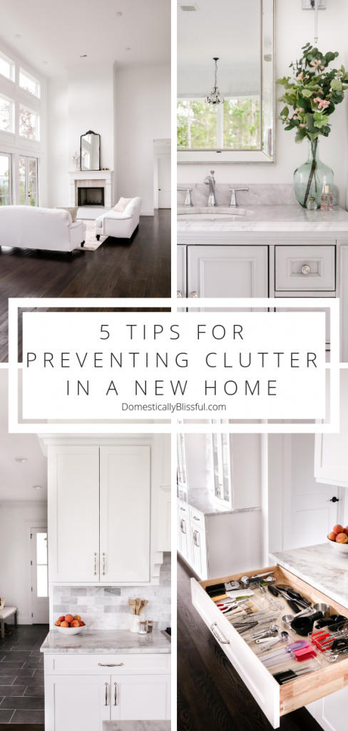 5 tips for preventing clutter in a new home while unpacking from a move.