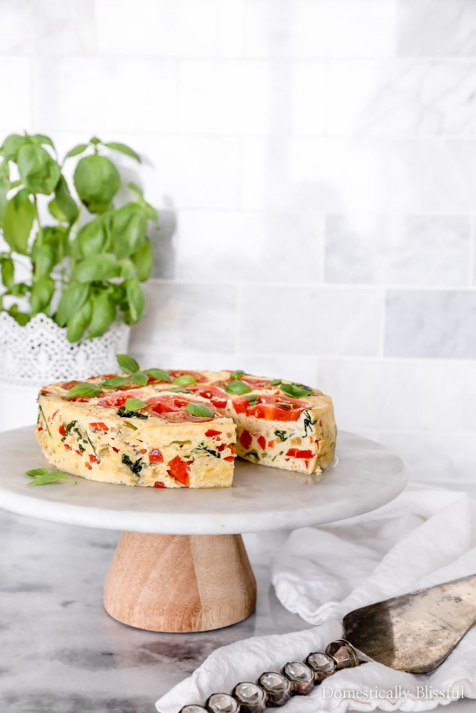 This Summer Frittata is filled with fresh vegetables & cooked in a Crock-Pot® Express 8-Quart Pressure Cooker so that you can feed even more people for brunch!