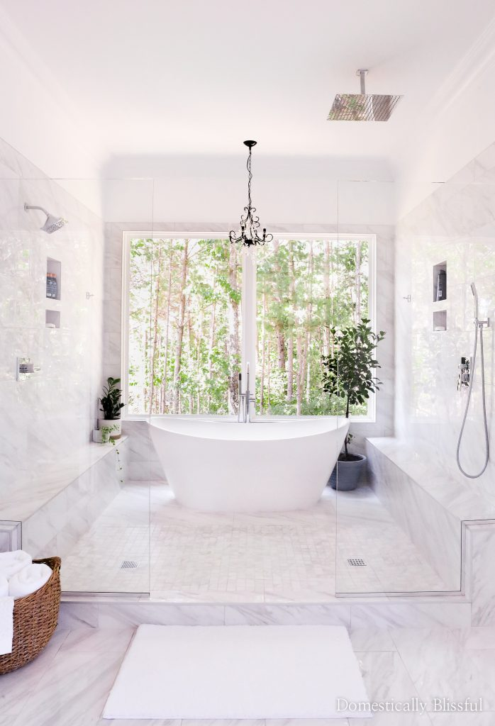 A master bathroom tour of our white bathroom and wetroom with a soaking tub and two showers.