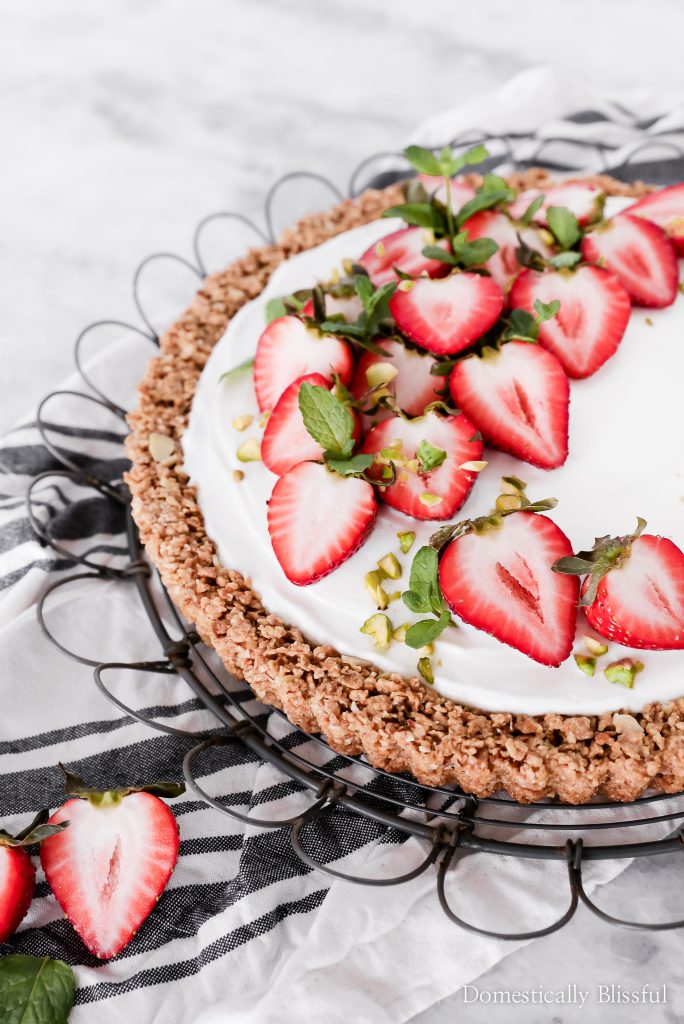 This Strawberry Yogurt Tart is a great make-ahead breakfast recipe for busy workday mornings or a special brunch with friends.
